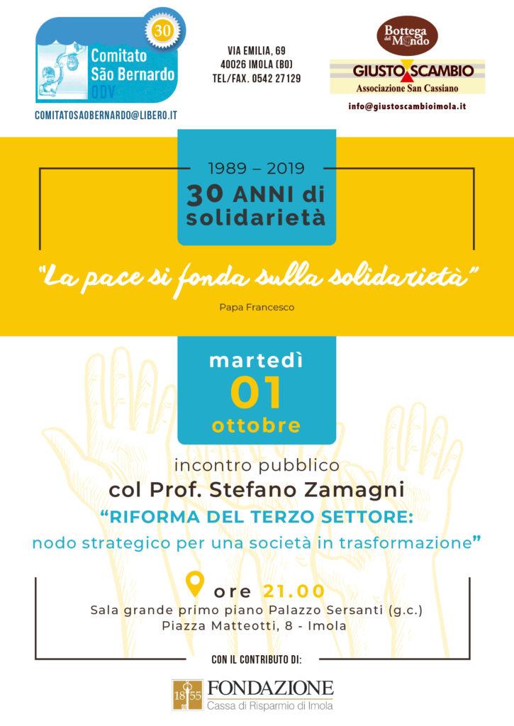 Incontro con il professo Stefano Zamagni martedì 1 ottobre 2019, Piazza Matteotti 8, Imola